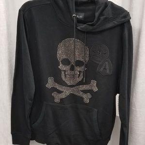 Rhinestone Skull with patch work hoody